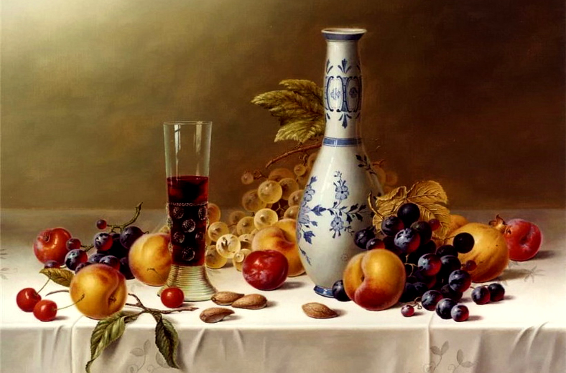 Wine, chalice, decanter, fruit, still life, table, tablecloth, wine Wallpaper