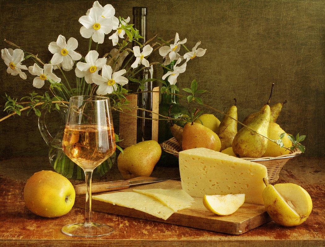 pear, photo, photography, pretty, spring, still life, white wine, wine Wallpaper