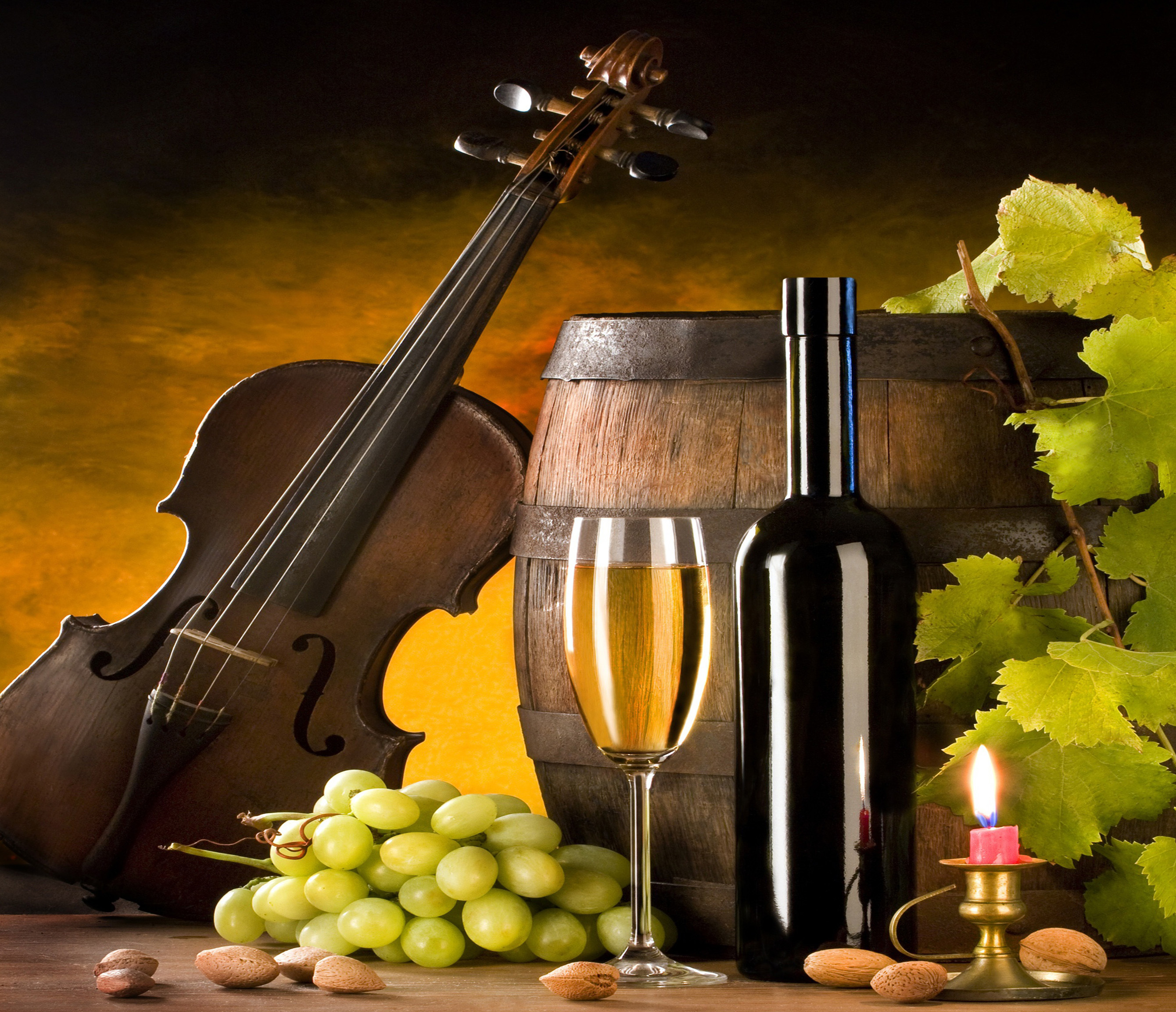 Wine, barrel, beautiful, beauty, bottle, candle, candles, glass Wallpaper