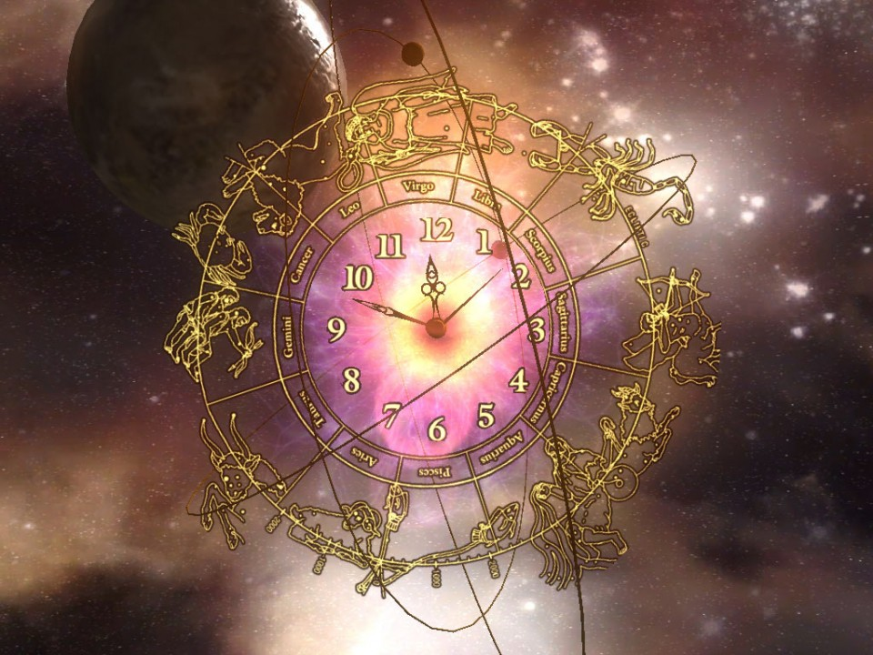 3D Planet Clock HD Wallpaper 960x720