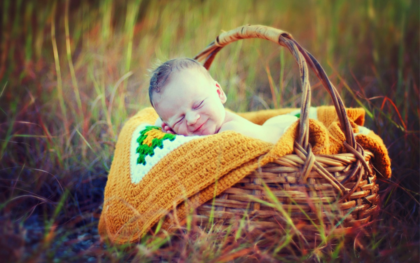 Cute Smiley Sleeping Baby In Basket HD Wallpaper | Cute Little Babies