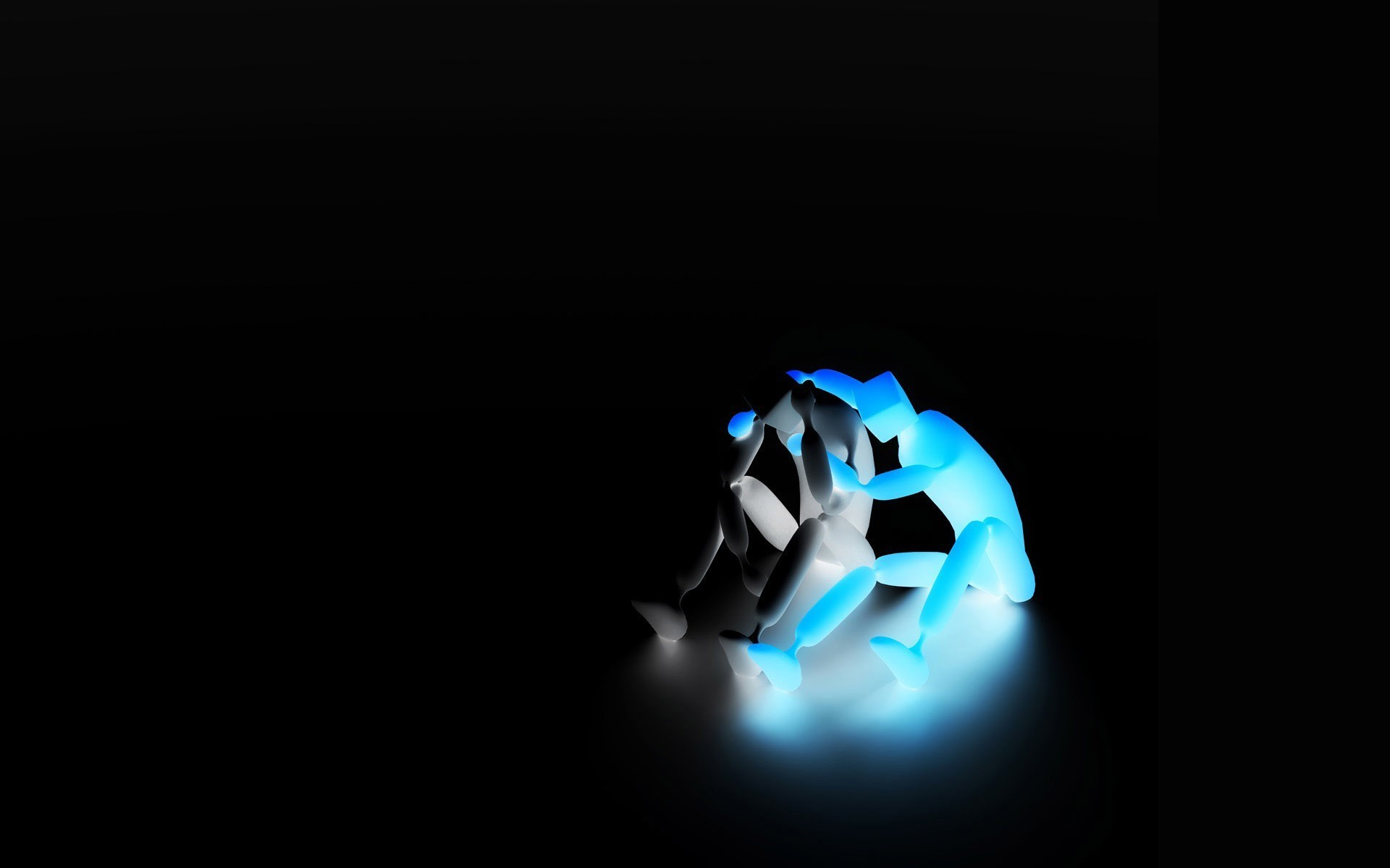 black and shining blue statue with black background HD Wallpapers 1920 x 1200 Wallpaper