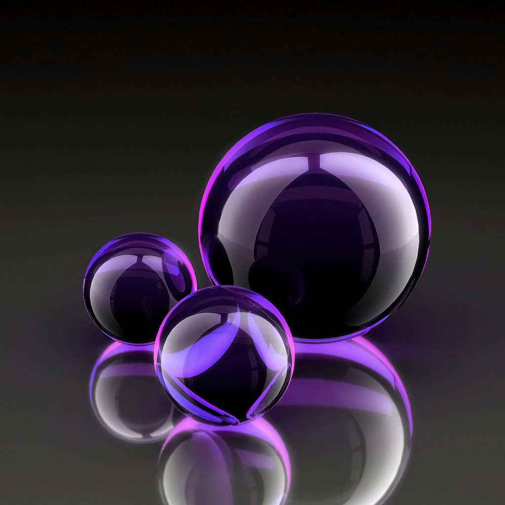 3D PURPLE ORBS IPAD ABSTRACT WALLPAPER 1024 X 1024 Wallpaper