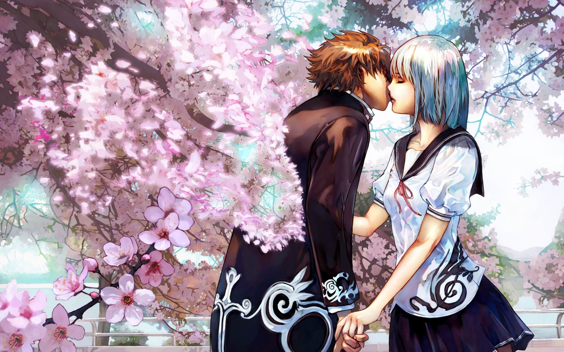 Anime+couples+kissing+wallpaper Wallpaper