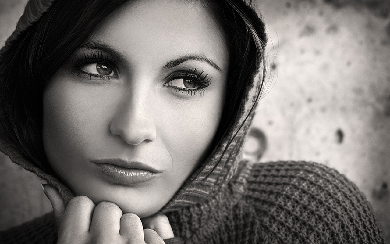 Smart, Beautiful, Black And White, Charming, Eye, Face, Female, Girl Wallpaper