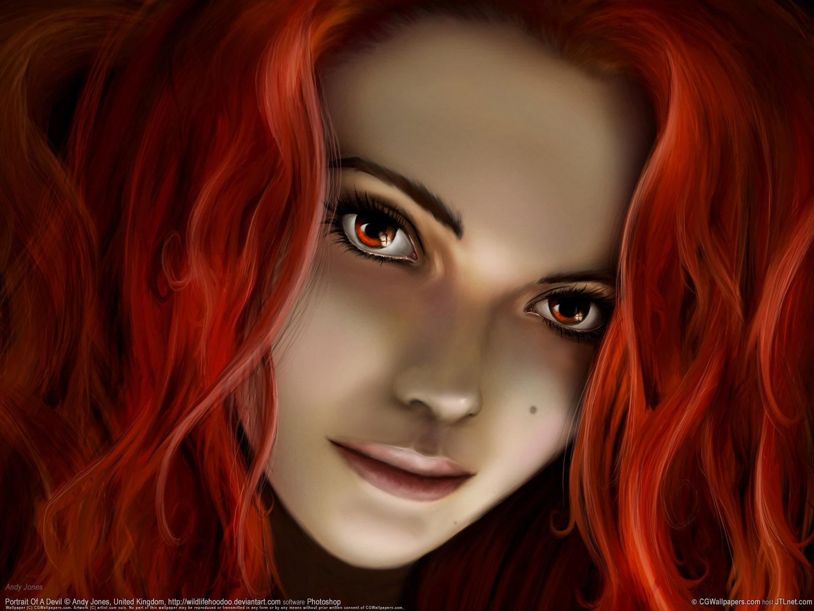 Red Head Beauty, 3D, Abstract, Art, Beautiful Eyes, Beauty, Face Wallpaper
