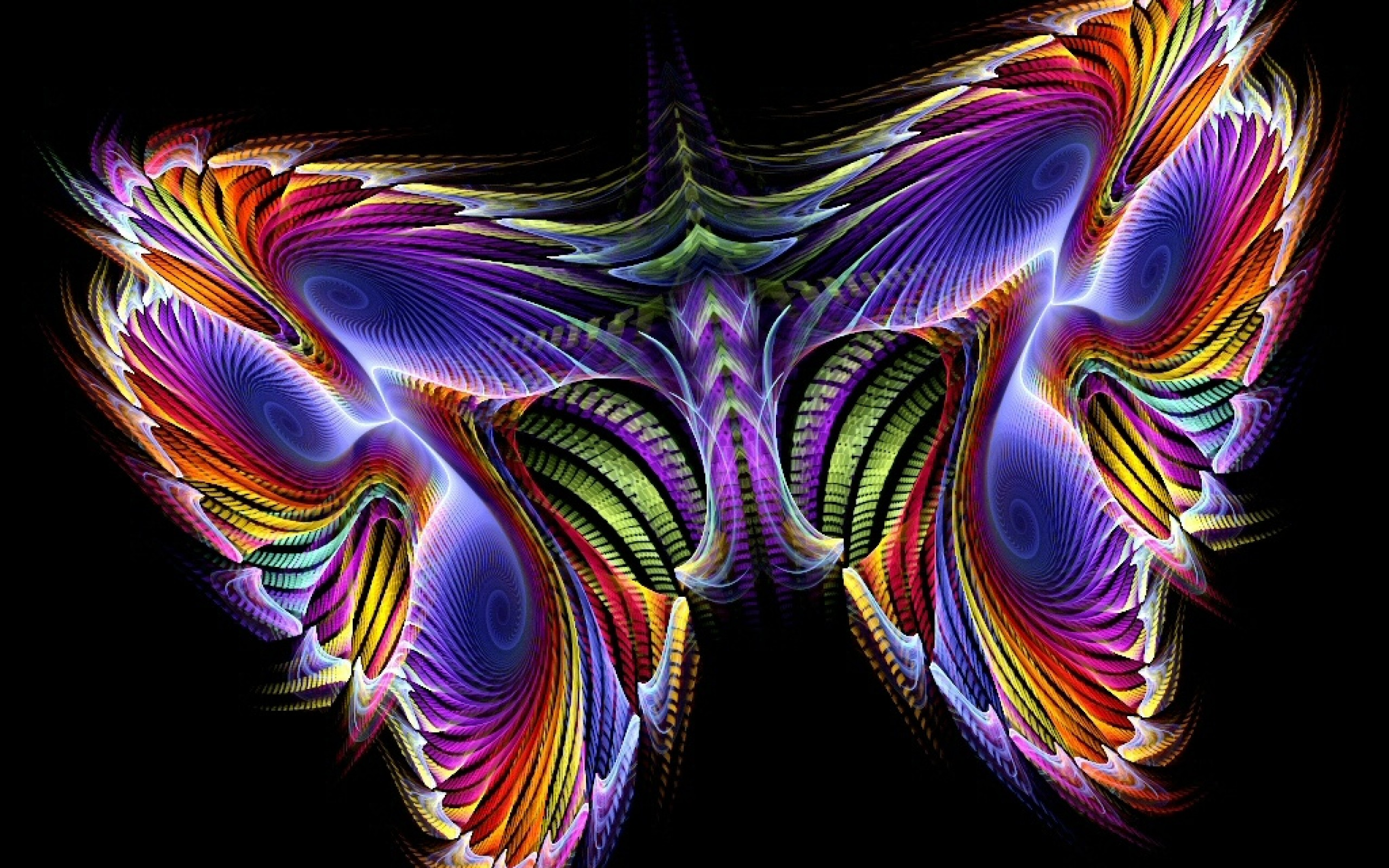 Color Butterfly With Black Background 3D Gaming HD Wallpaper Wallpaper
