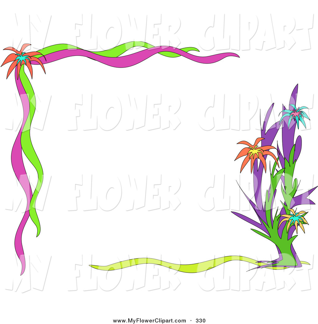 Clip Art Of A Pretty Floral Border Of Orange, Blue And Yellow Flowers Wallpaper