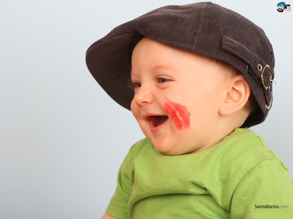 Cute Baby Boy Picture Lipstick On Cheek HD Wallpaper | Baby Pictures Wallpaper