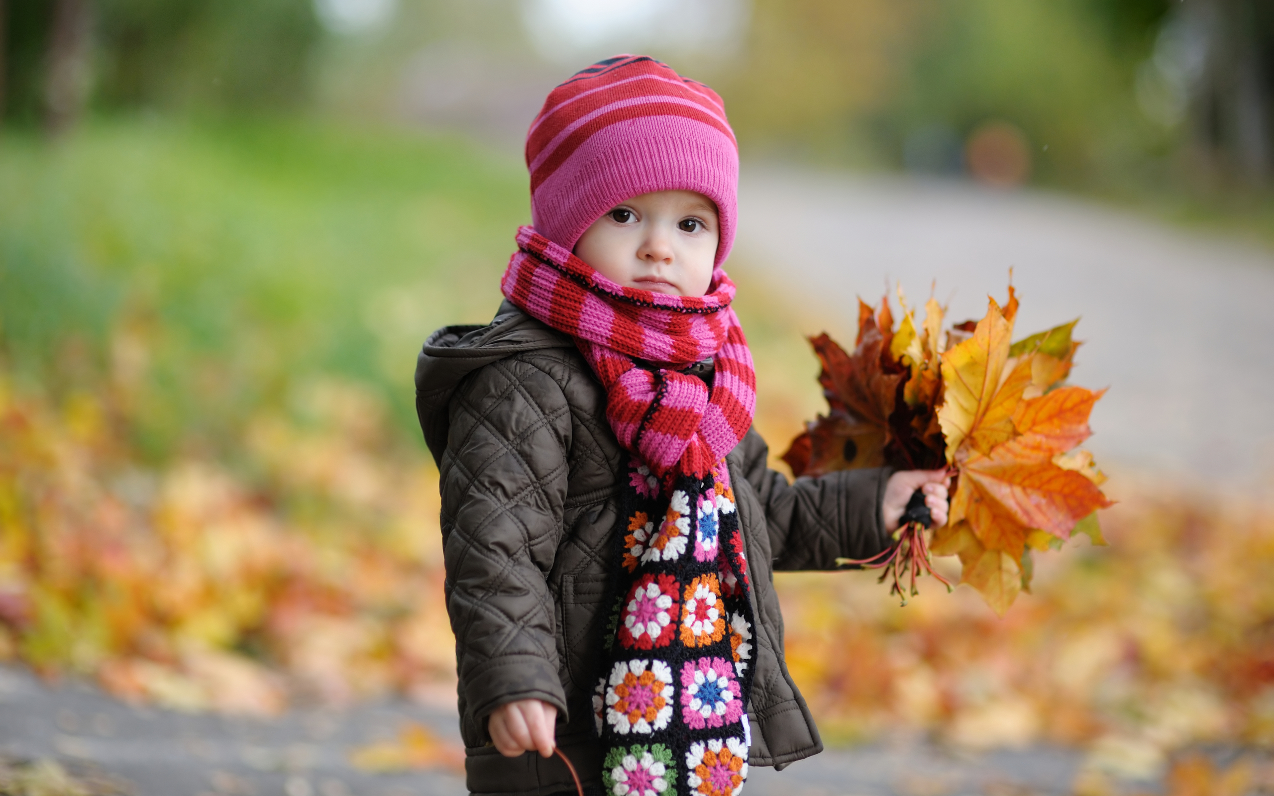 Wallpaper Of Babies: A Cute Baby In Autumn With Yellow Leaves ,click Wallpaper