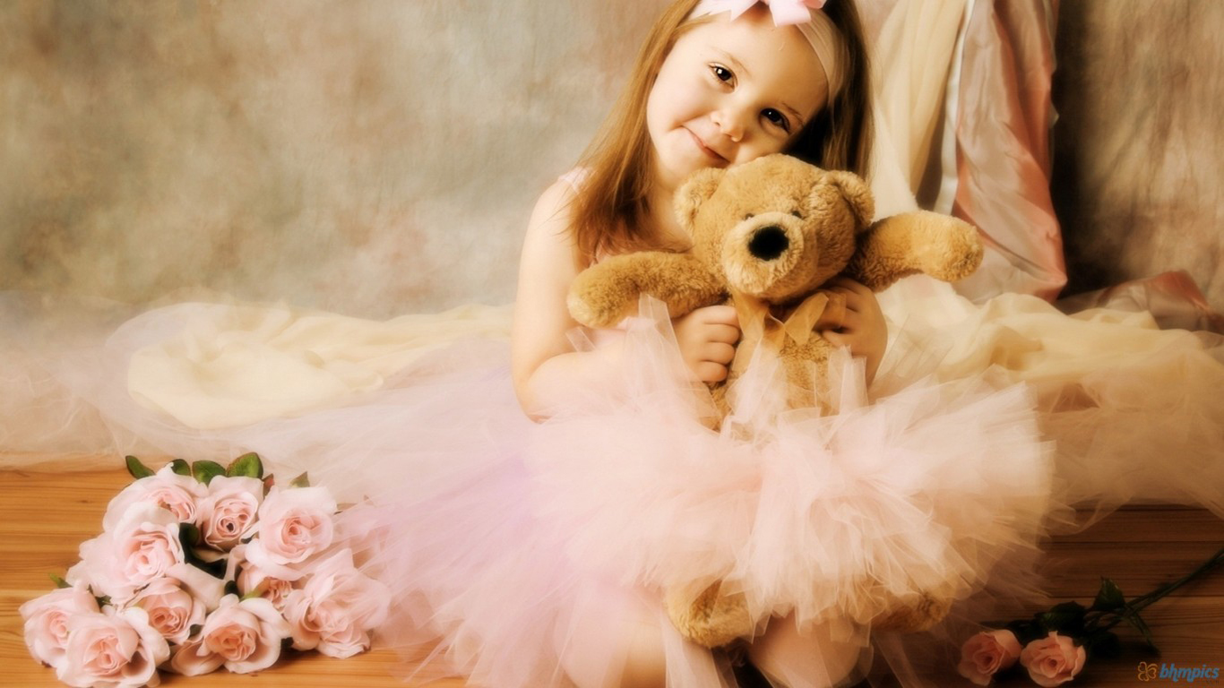 Cute Little Baby Girl With Teddy Bear And Rose Flowers HD Wallpaper Wallpaper