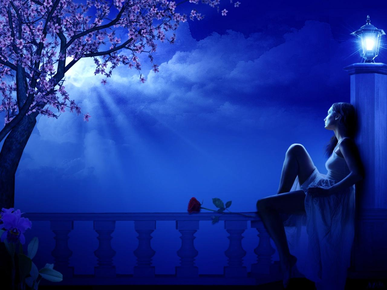 Night, 3d, Art, Blue, Fantasy, Girl, Love, Missing, Moon, Night, Rose Wallpaper