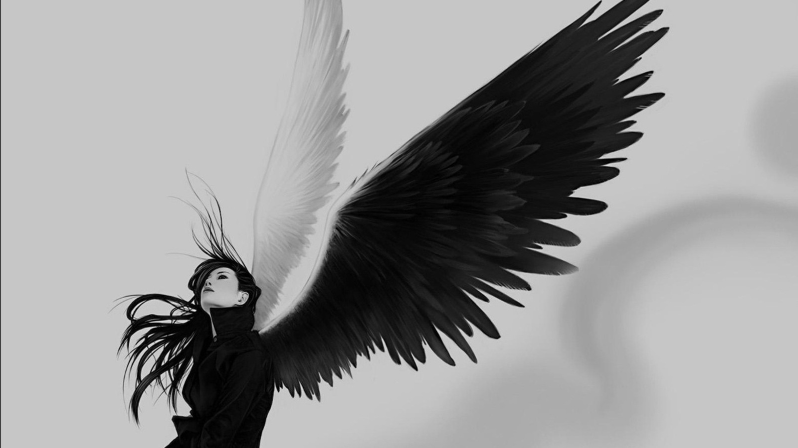 ANGEL OF GOOD & EVIL, ANGEL, BAD, BEAUTIFUL, GIRL, GOOD, WINGS, WOMAN Wallpaper
