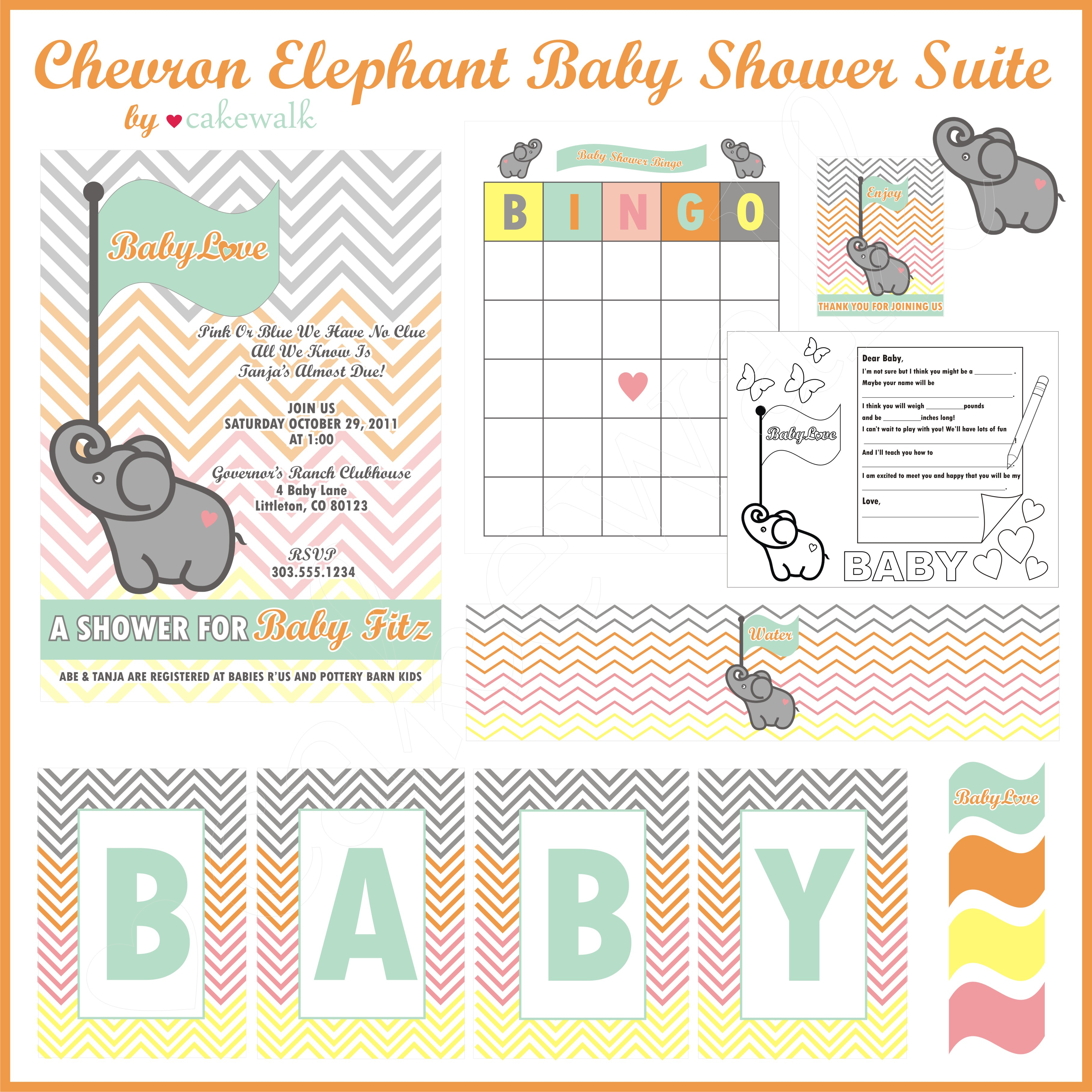 Favorite Is The Chevron Elephant Baby Shower Printable Suite Wallpaper
