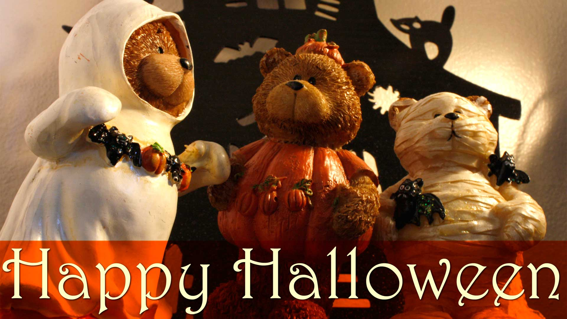 Halloween Bears, Bears, Ghost, Halloween, Mummy, Pumpkin, Teddy Wallpaper