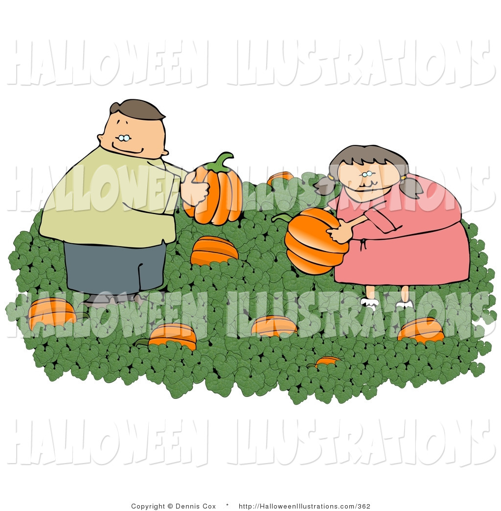 Halloween Clip Art Of A Man And Woman Picking Fresh Halloween Pumpkins Wallpaper