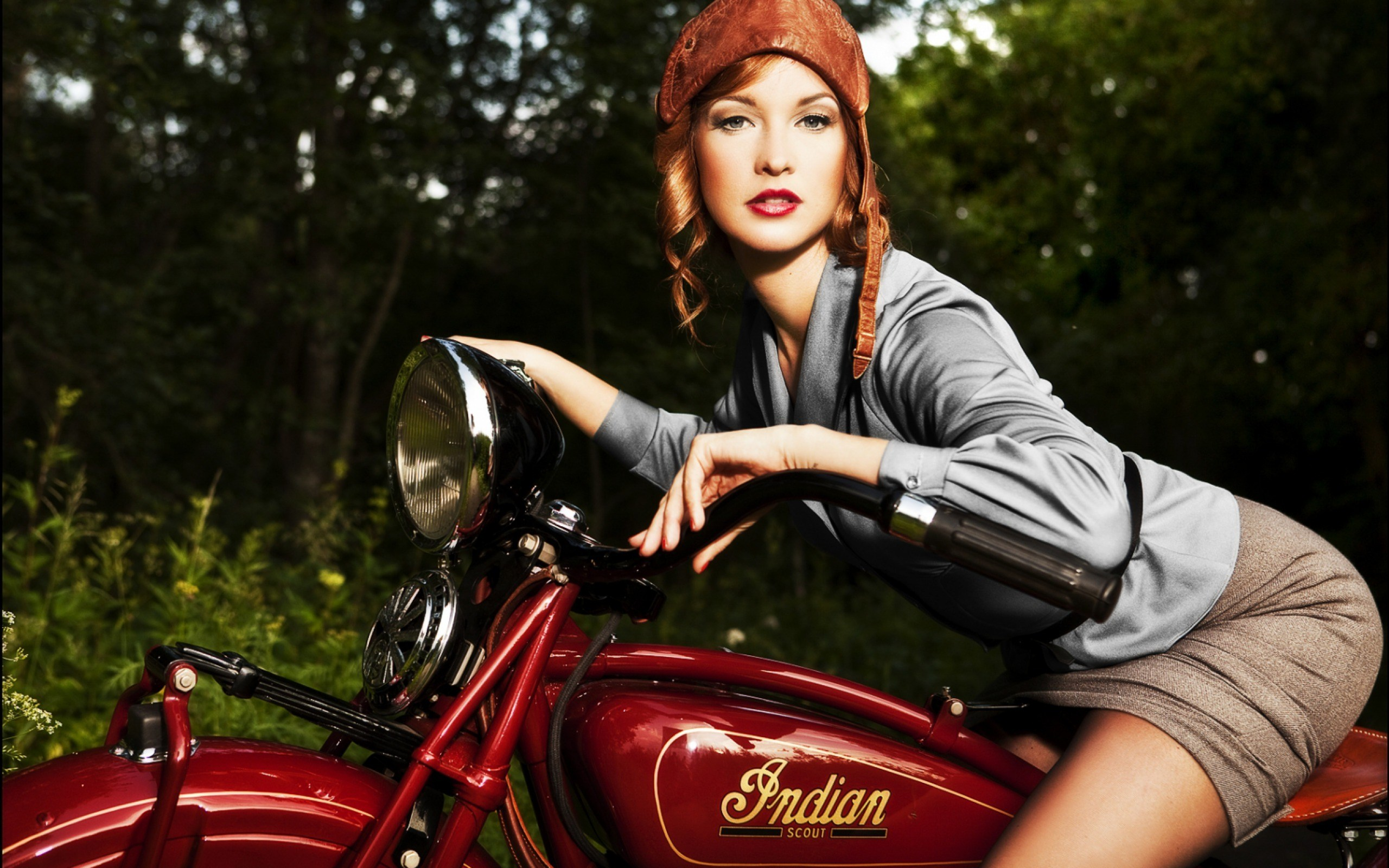Redhead Girl Vintage Indian Motorcycle Wide Redhead Girl Vintage Wallpaper