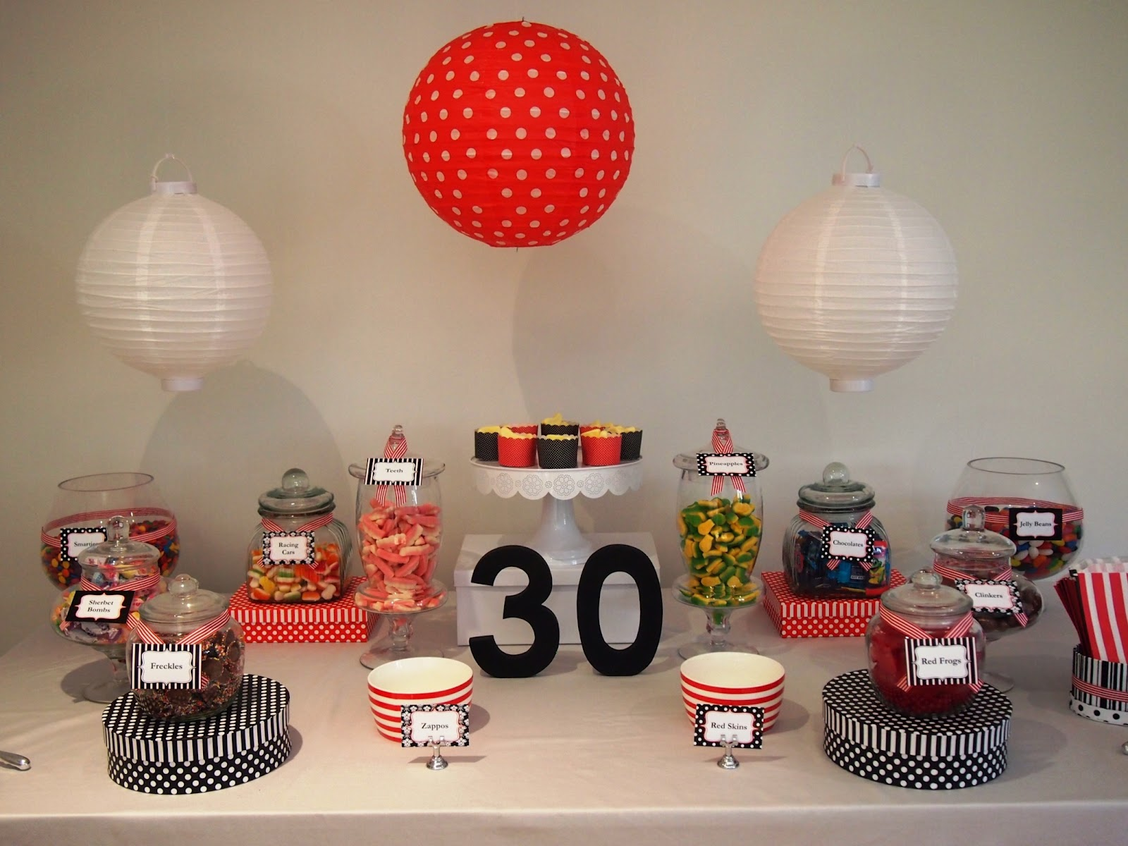 Utterly Organised Candy (Lolly) Buffet: Black/Red/White 30th Birthday Wallpaper