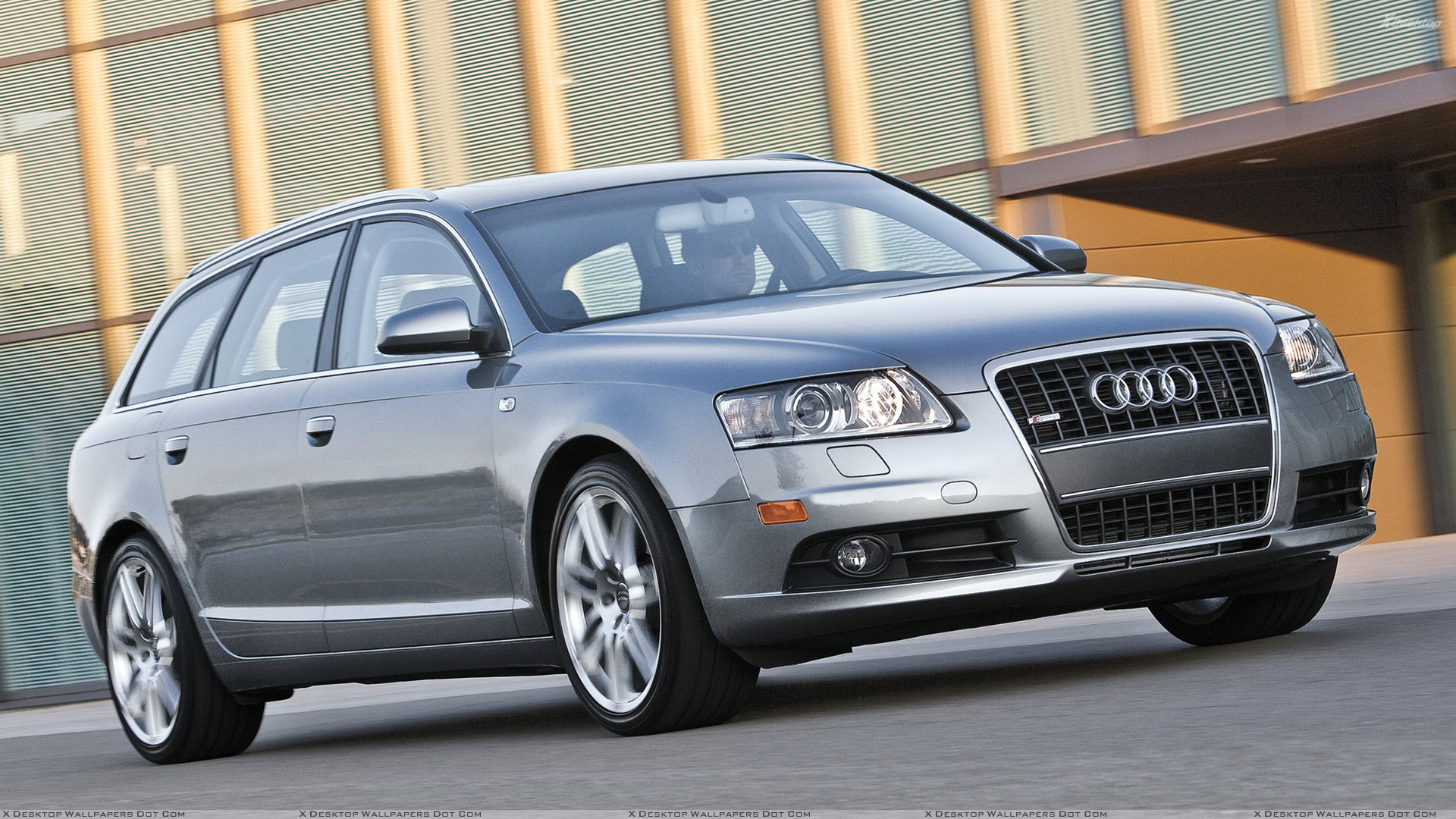 Running Audi A6 Avant S Line In Grey Front Pose Wallpaper Wallpaper