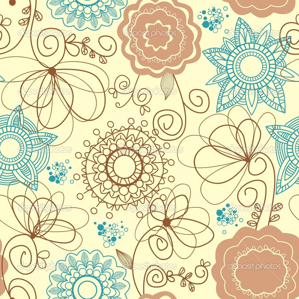 Retro Floral Pattern — Stock Vector © Danussa #4043949 Wallpaper