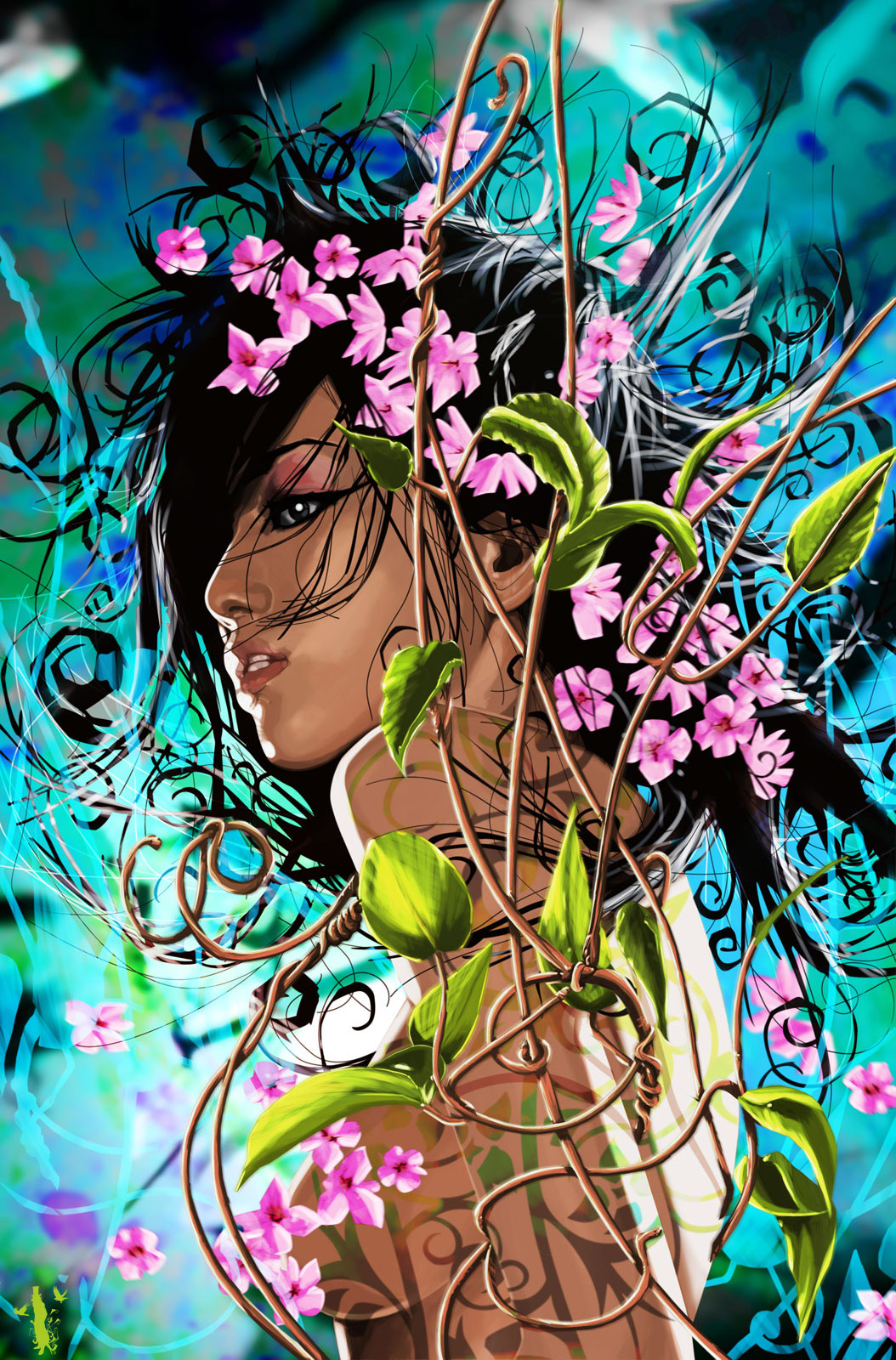 The Rose Angel Picture (2d, Illustration, Girl, Woman, Flowers Wallpaper