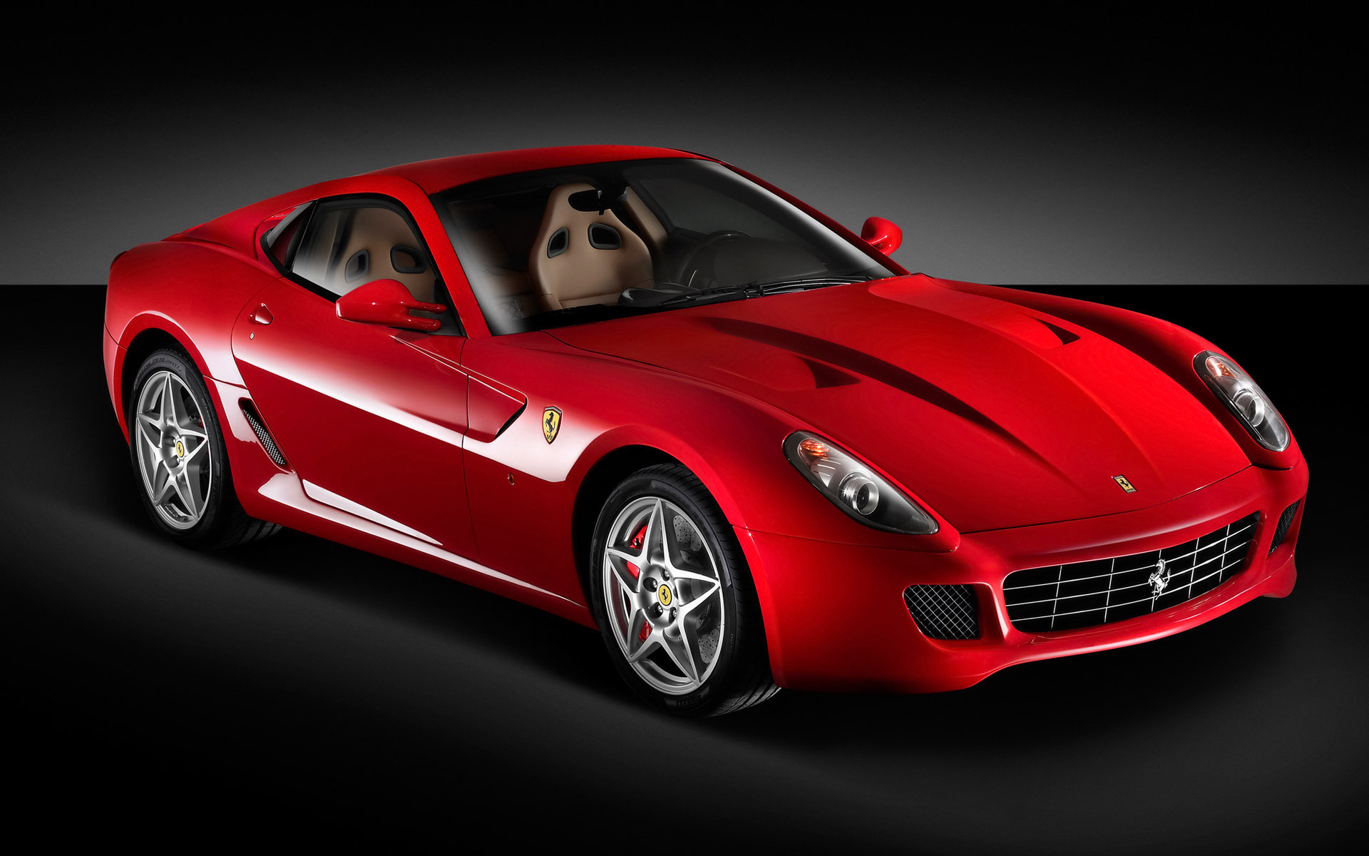 Red Ferrari Car In Stop, Must Be Fast In Speed, On A Flat Black Road Wallpaper