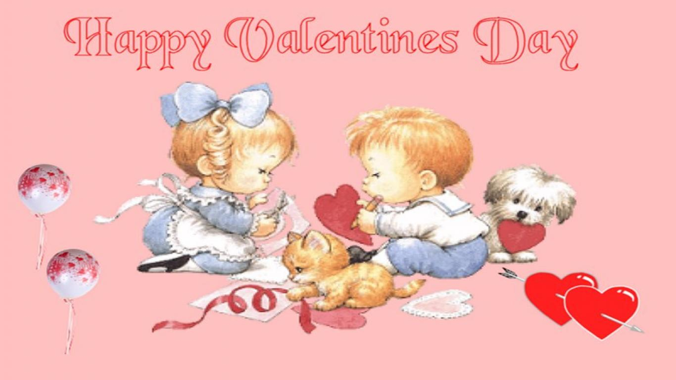 Free Download HD Happy Valentines Day   Little Boy & Little Girl Wallpaper