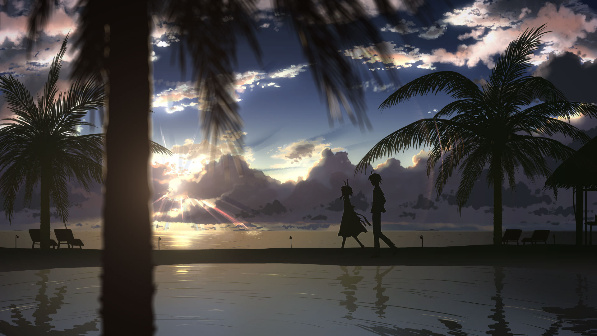 images of wallpaper anime landscape palm trees sunset beach clouds