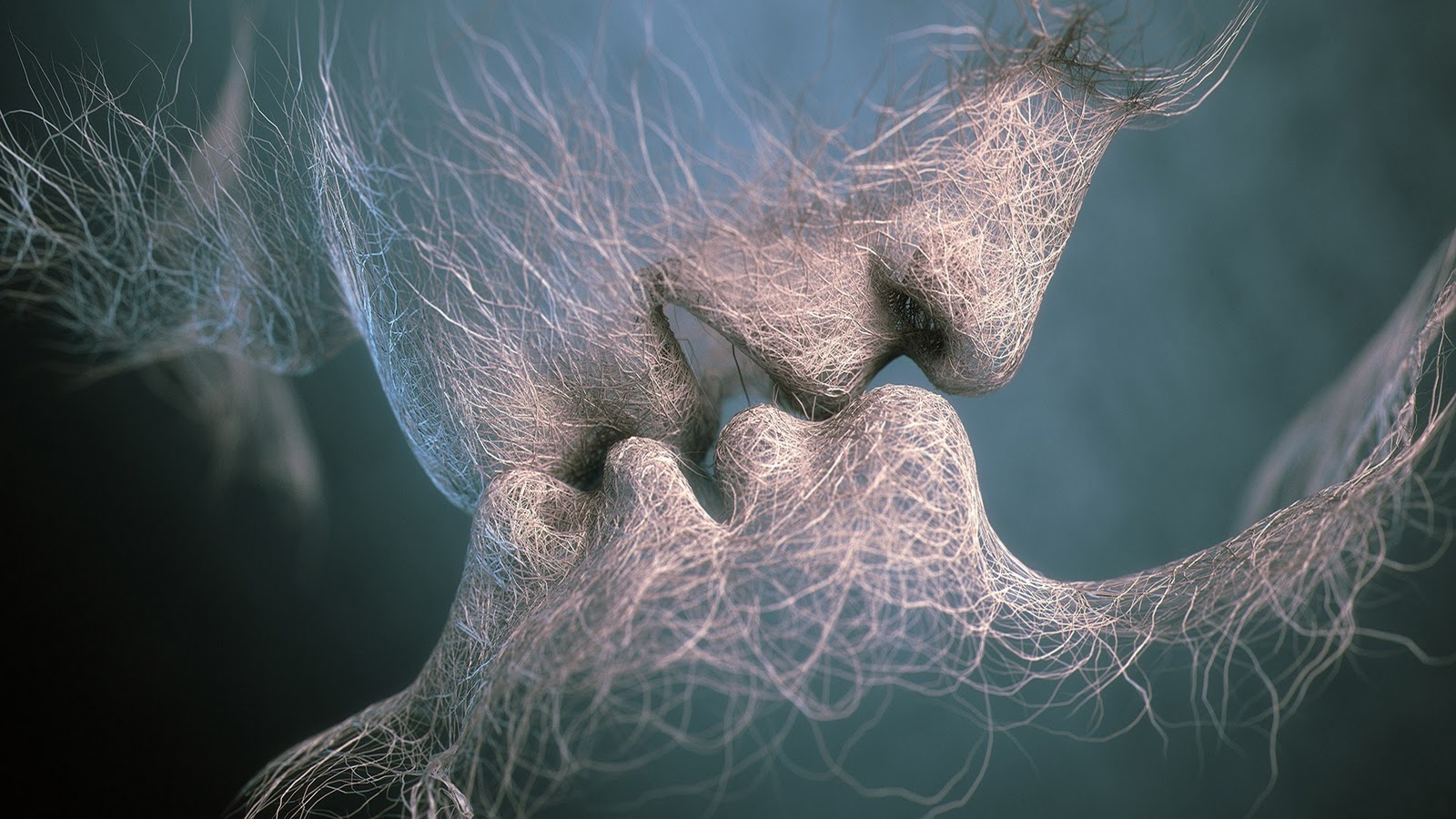 Abstract 3d Wallpaper Of Lovers Kissing Wallpaper
