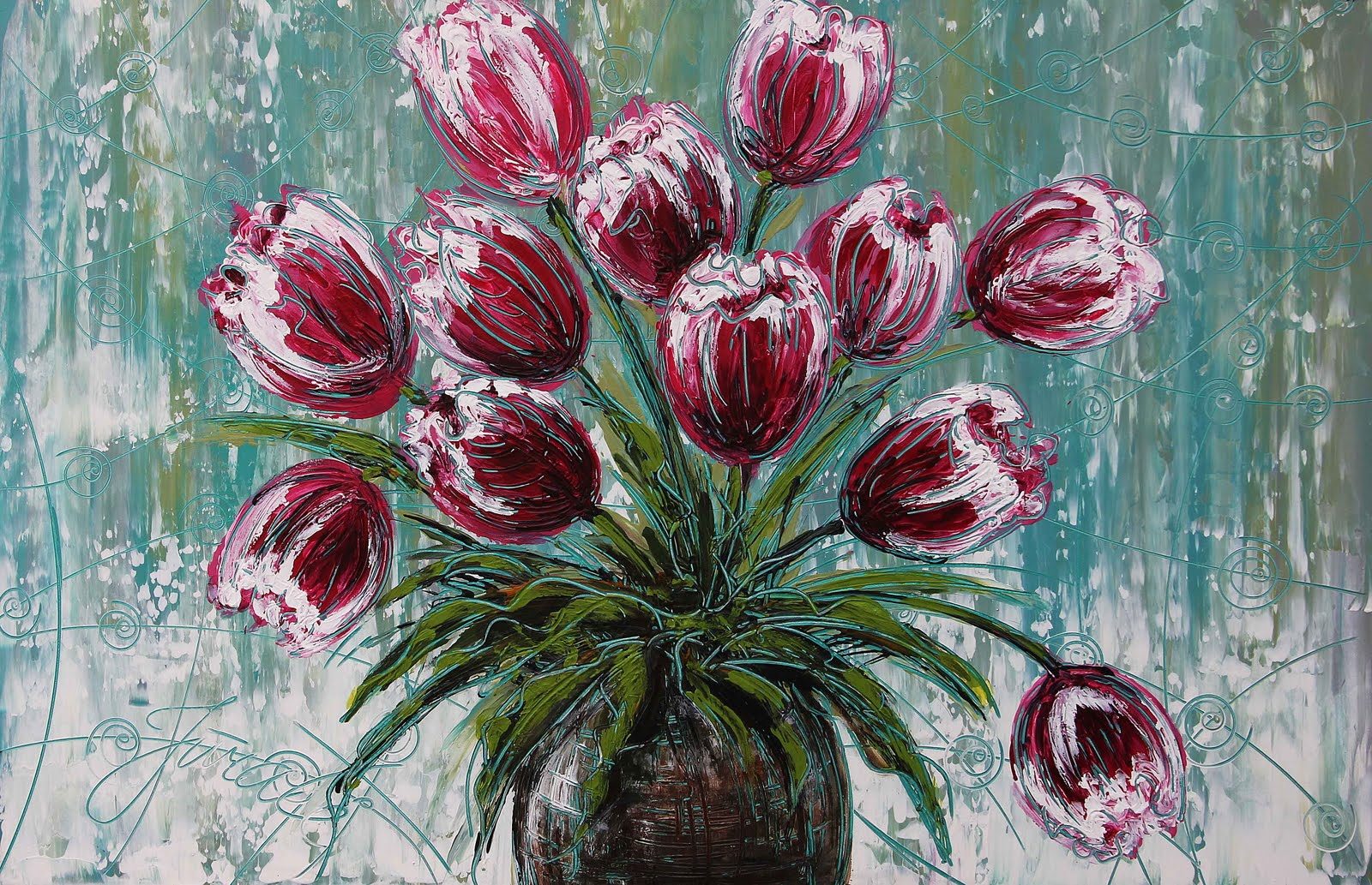 Palette Painted Abstract Paintings Of Flowers Wallpaper