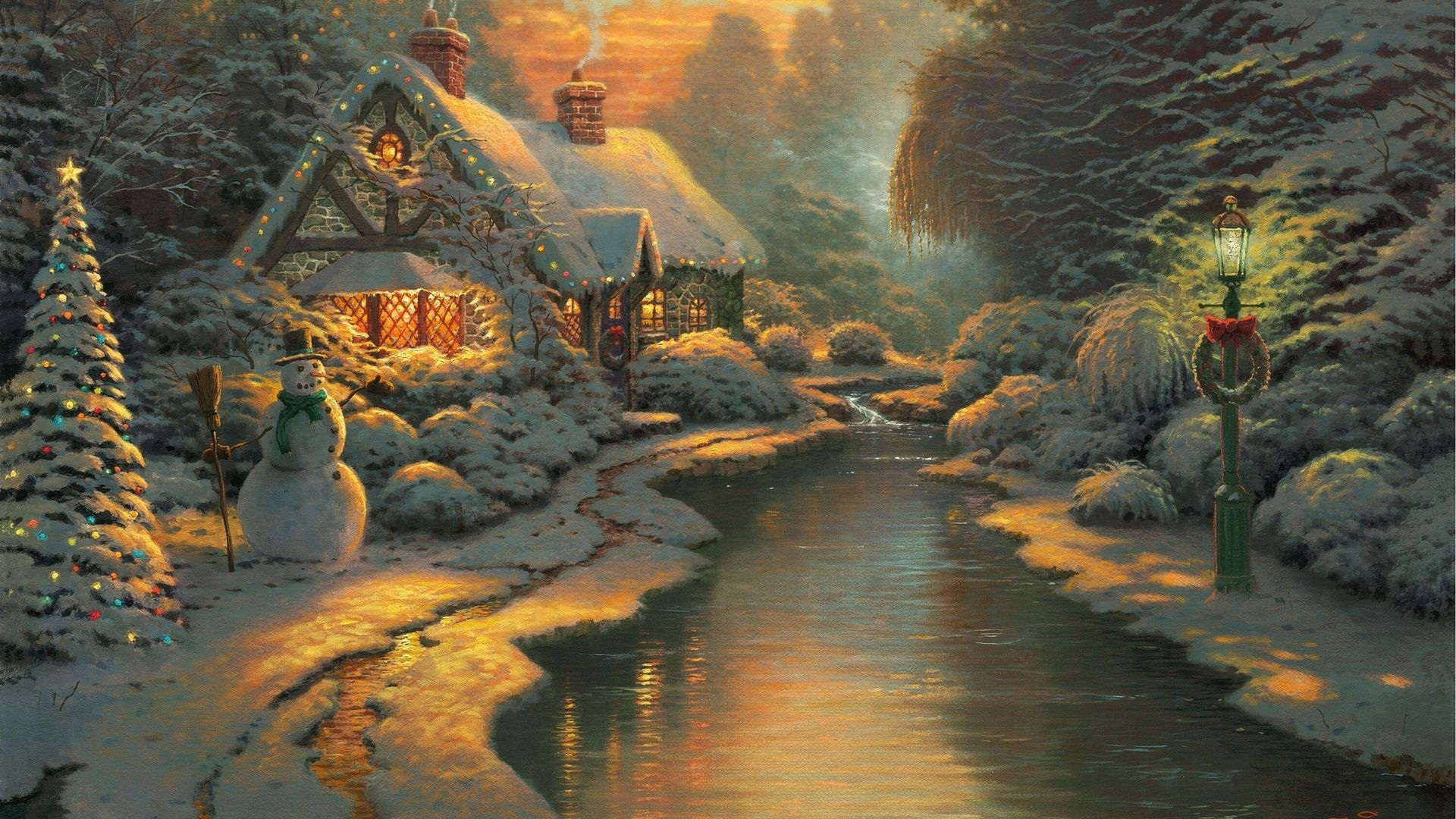 Thomas Kinkade Christmas Wallpaper Wallpaper