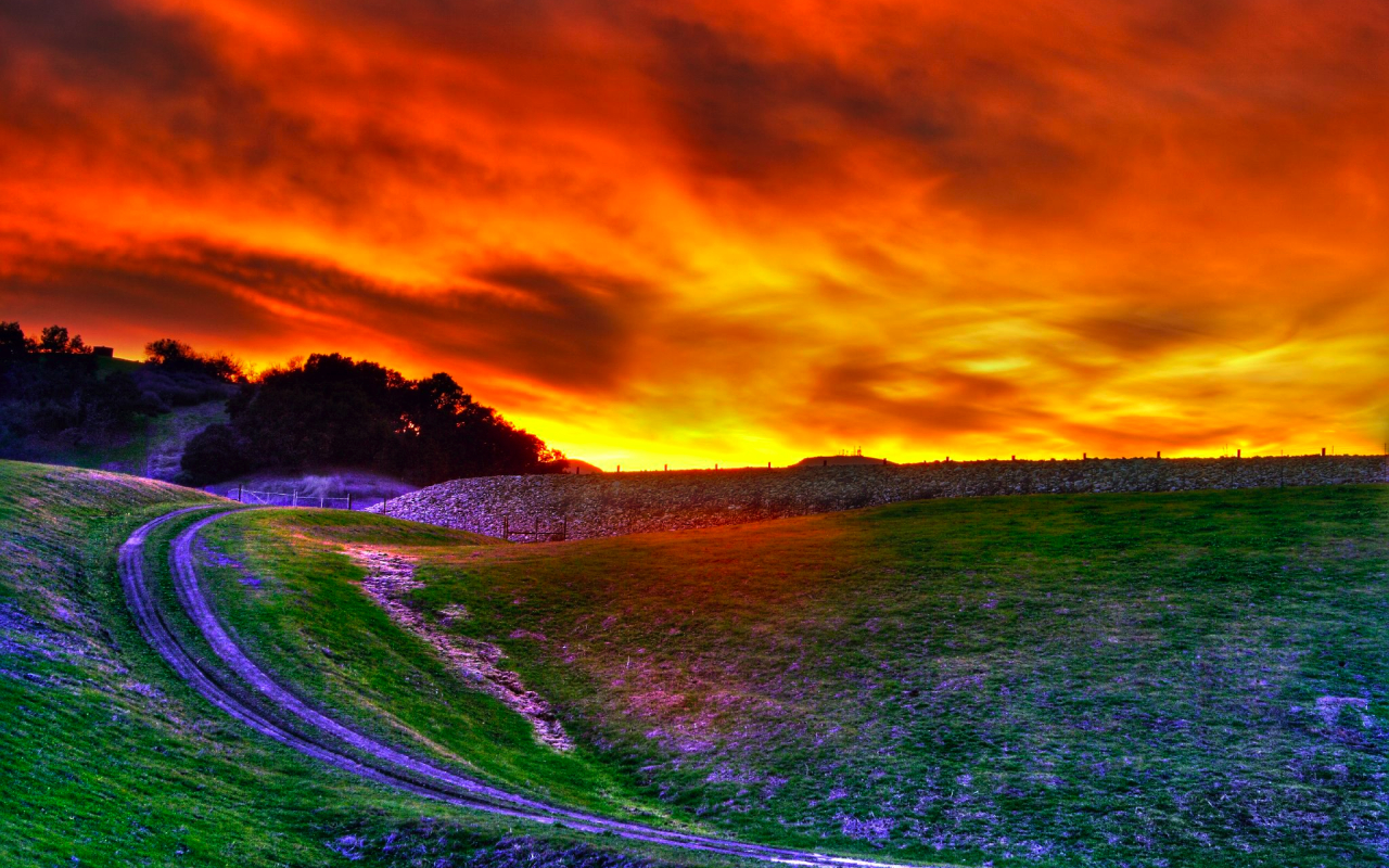 Awesome HDR Sunset Wallpaper Wallpaper
