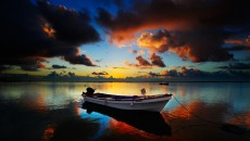 Download Personal Boats wallpaper, \'boat on lake in the twilight\