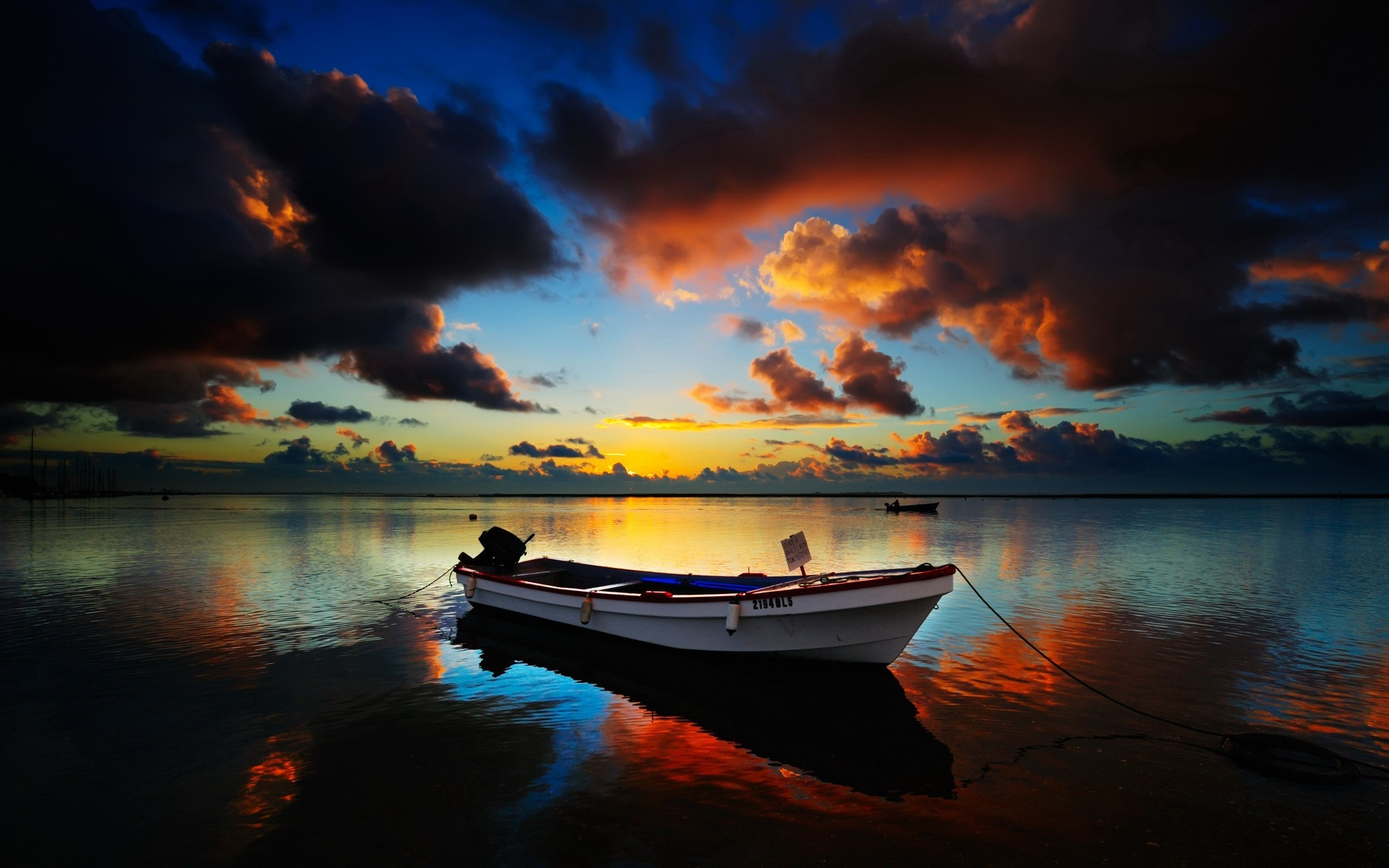 Download Personal Boats wallpaper, \'boat on lake in the twilight\ Wallpaper