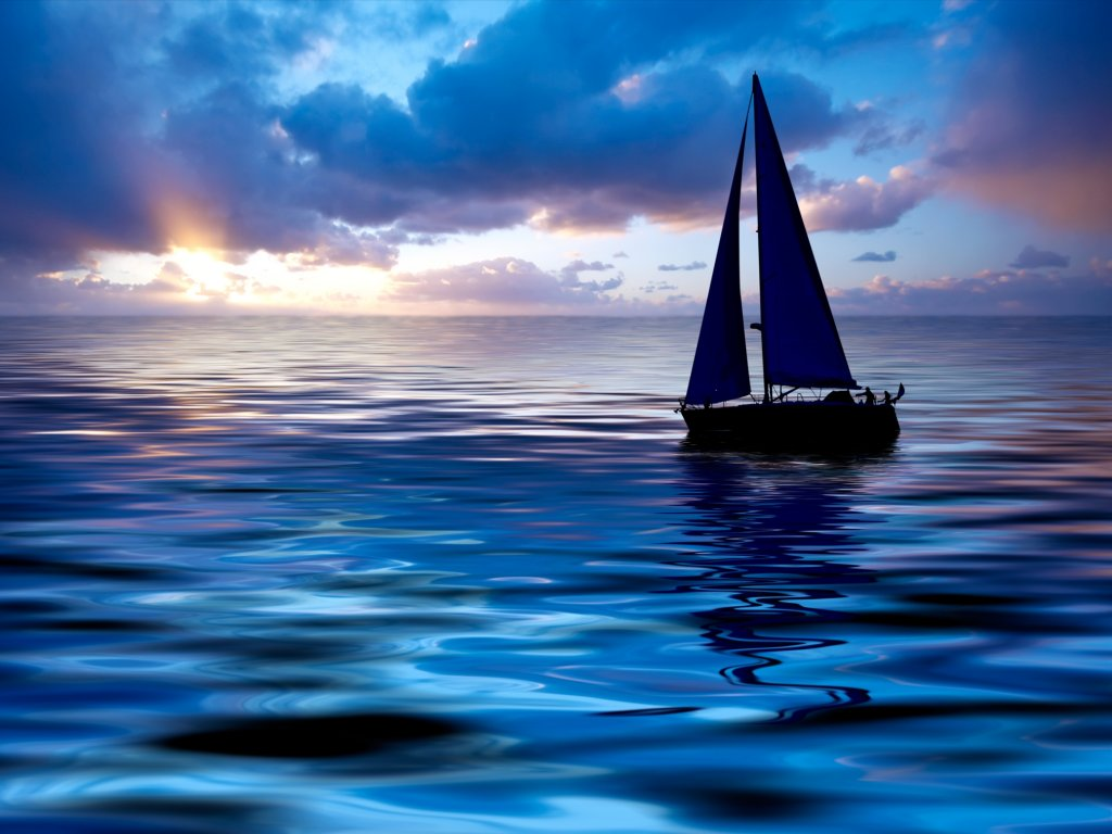 Download Sailing Boats wallpaper, \'sailing boat at sunset\ Wallpaper