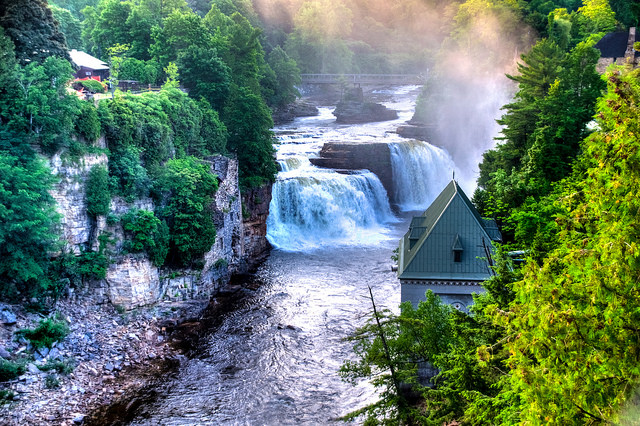 Rainbow Falls at Ausable Chasm, New York Wallpaper