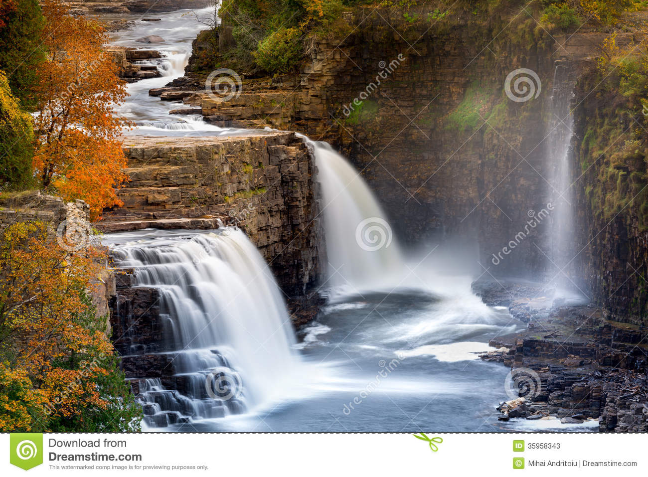 Ausable Chasm Waterfall, Adirondack mountains, Upstate New York. By Wallpaper