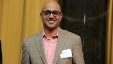 Ayad Akhtar Lee C. Bollinger presents an award to Ayad Akhtar at the